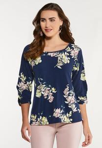 Plus Size Navy Floral Raglan Top