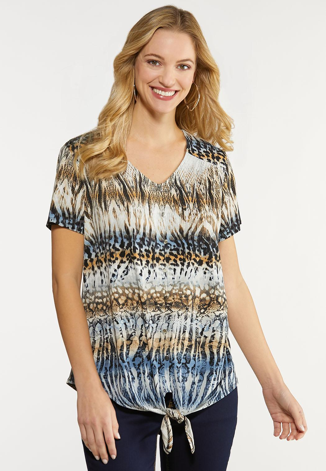 Plus Size Abstract Button Front Top