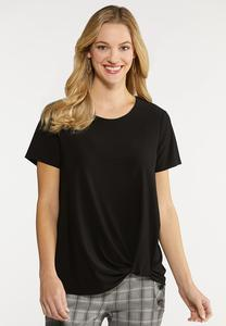 Plus Size Solid Twisted Tee