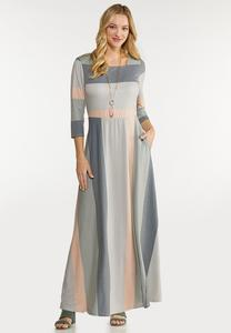 Petite Square Neck Striped Maxi Dress