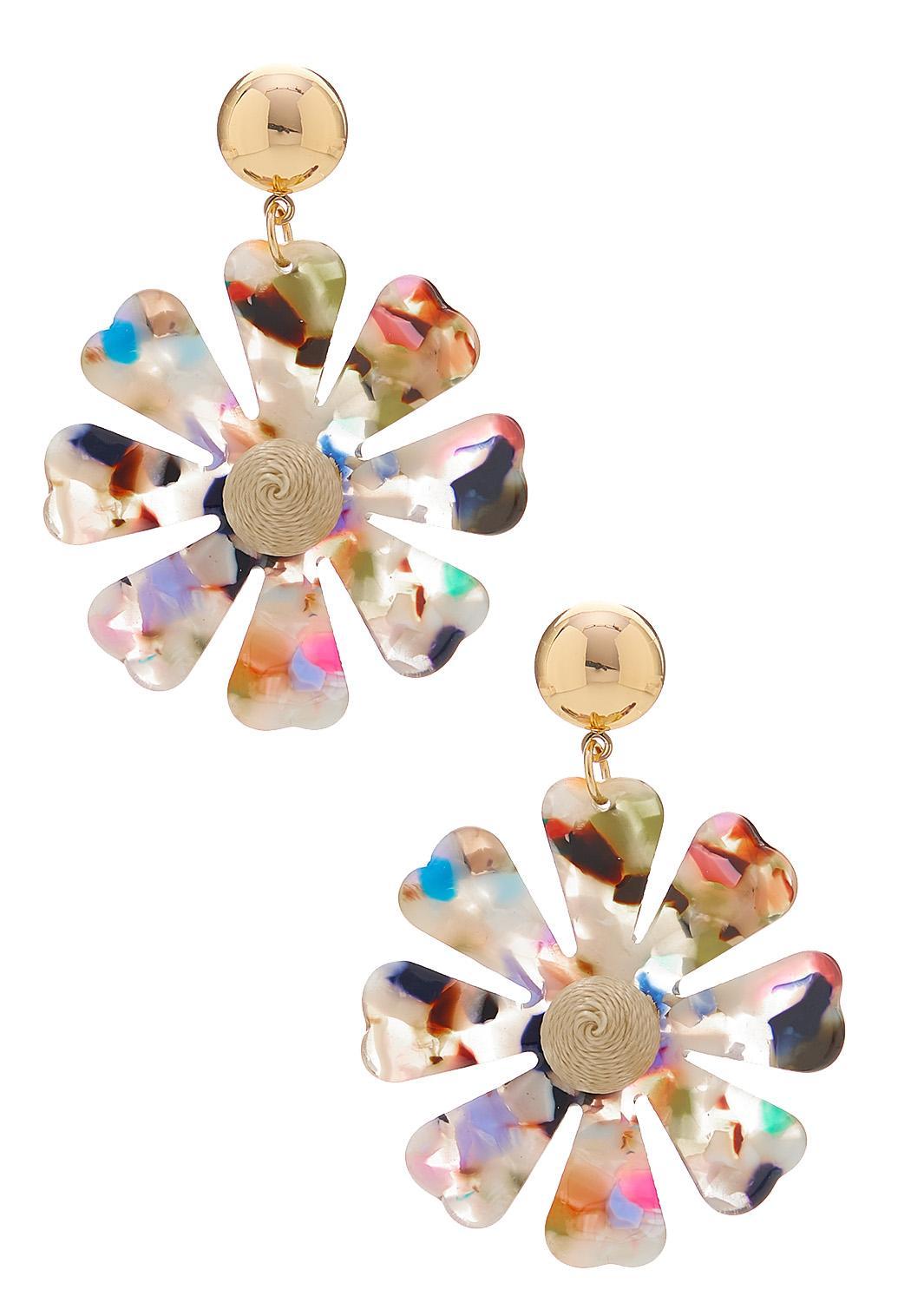 Multi Color Lucite Flower Earrings