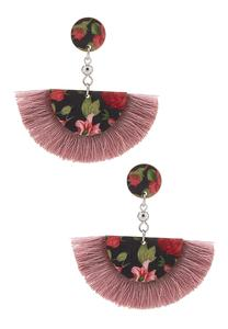 Printed Half Moon Fringe Earrings