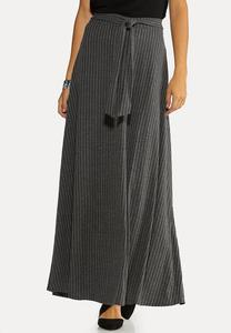 Plus Size Ribbed Tie Waist Skirt