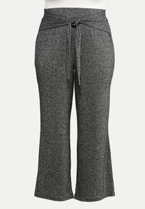 Plus Size Tie Front Hacci Pants
