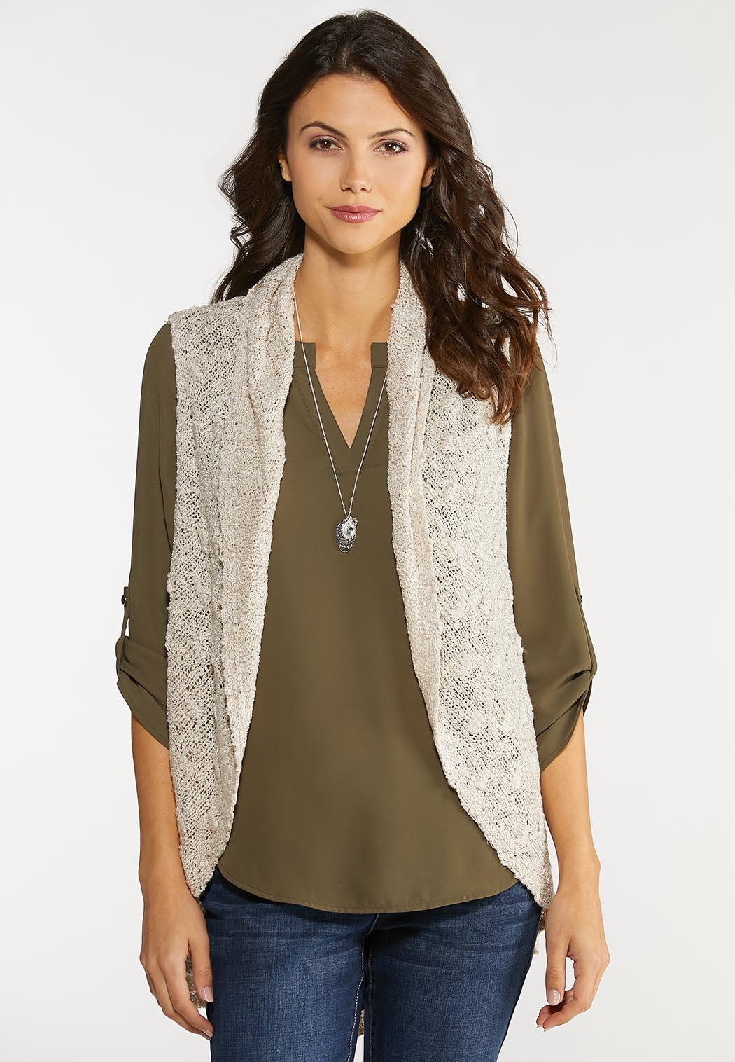 Plus Size Beige Sweater Vest