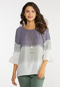 Plus Size Dip Dye Smocked Poet Top