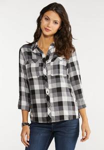 Plaid Lace Up Shirt