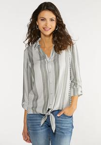 Plus Size Stripe Tie Front Top