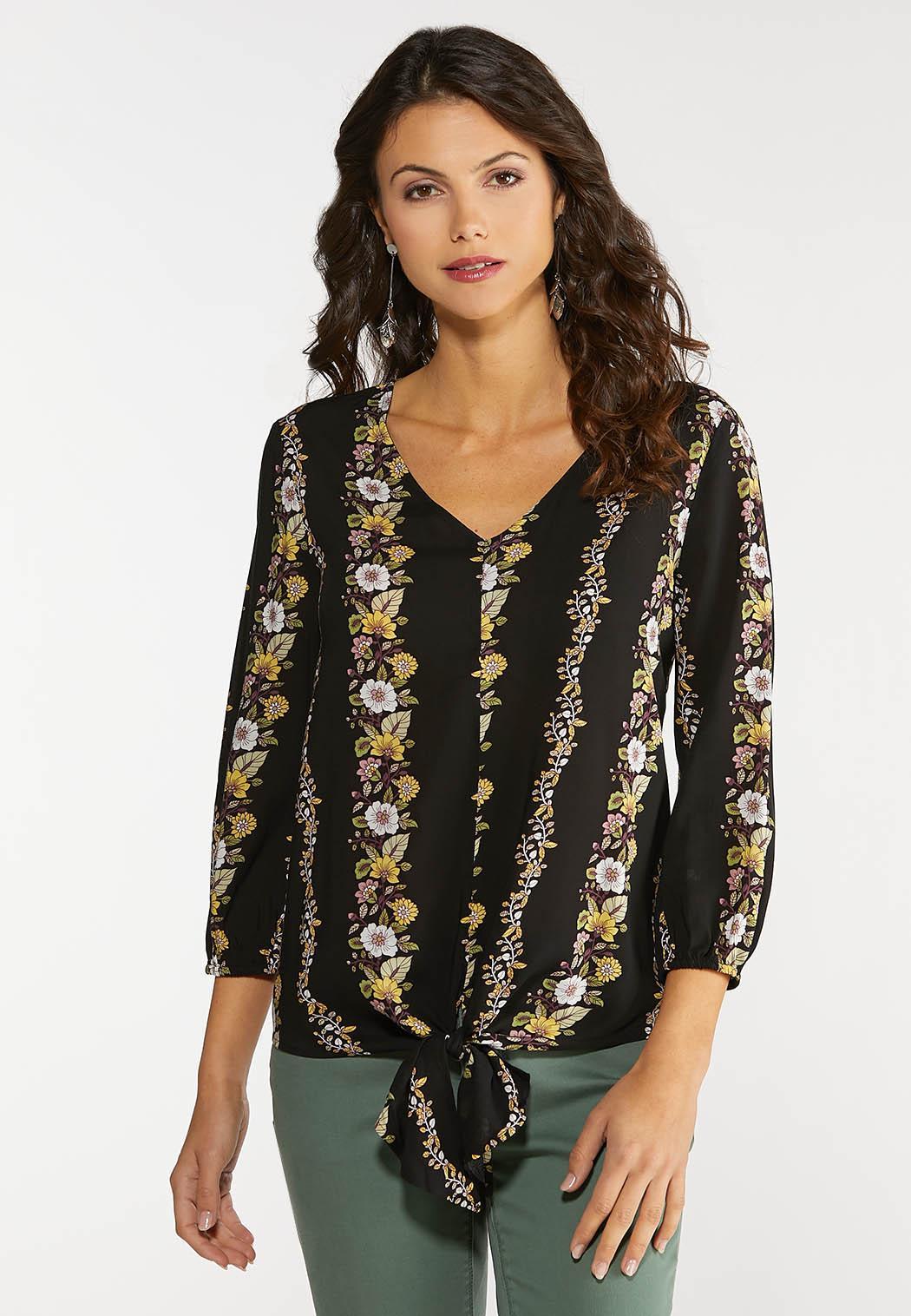 Plus Size Tie Front Floral Stripe Top