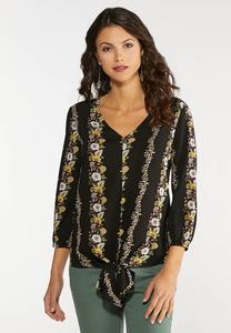 Plus Size Tie Front Floral Stripe Top