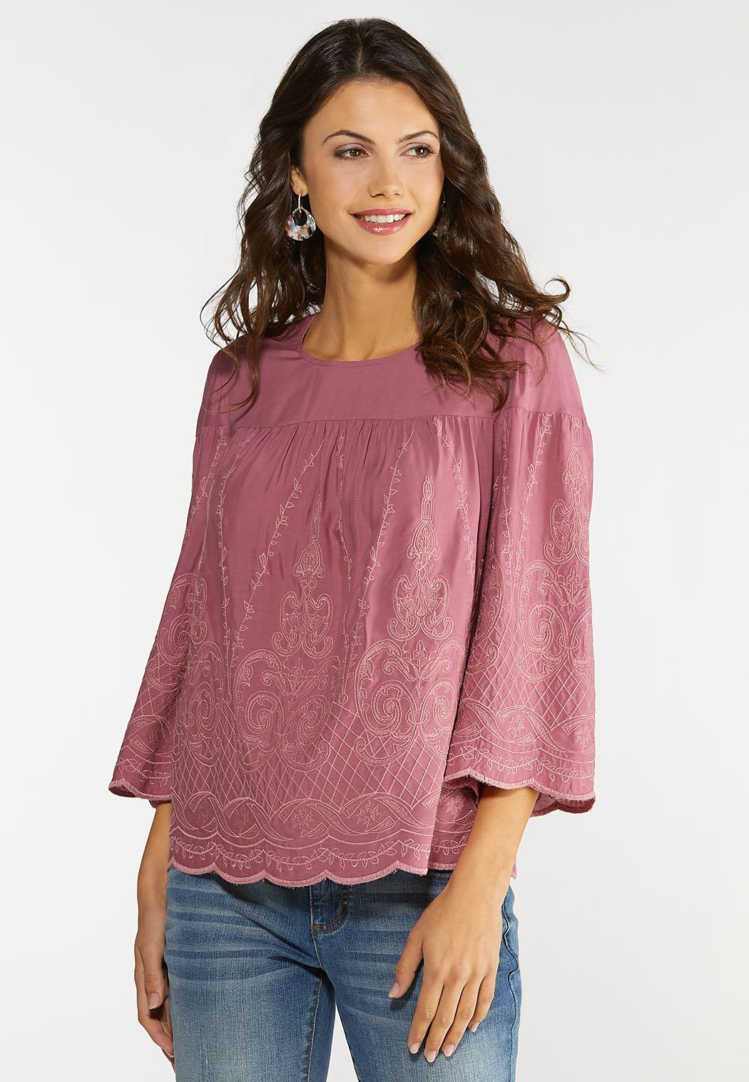 Plus Size Embroidered Scallop Hem Top