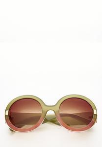 Two-Tone Round Sunglasses