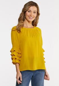 Plus Size Ruffle Poet Top