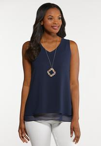 Plus Size Solid Woven Tank