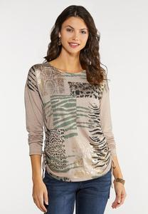 Plus Size Foiled Animal Print Top