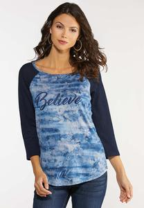 Plus Size Believe Baseball Top