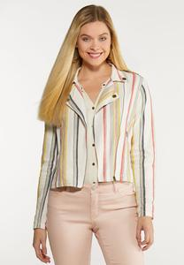 Plus Size Striped Linen Moto Jacket