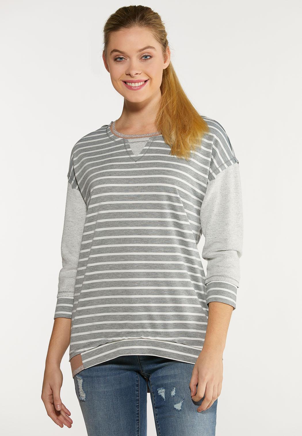 Plus Size Shimmer And Stripe Sweatshirt