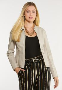 Plus Size Faux Leather And Ponte Jacket