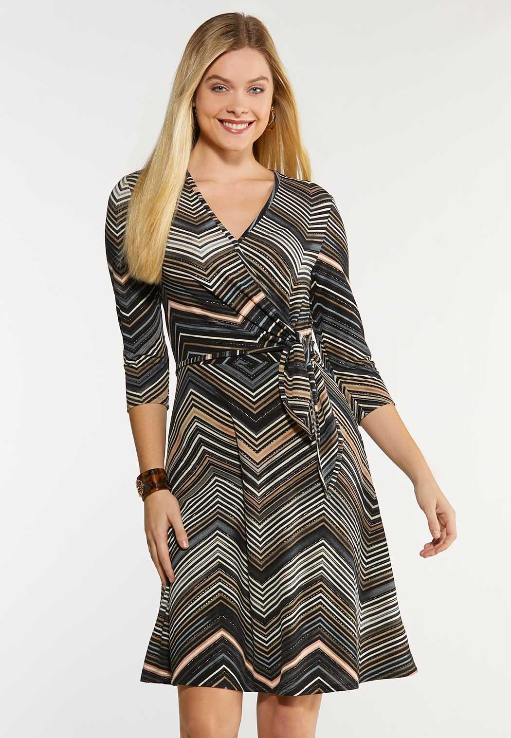 Plus Size Chevron Faux Wrap Dress Plus Sizes Cato Fashions