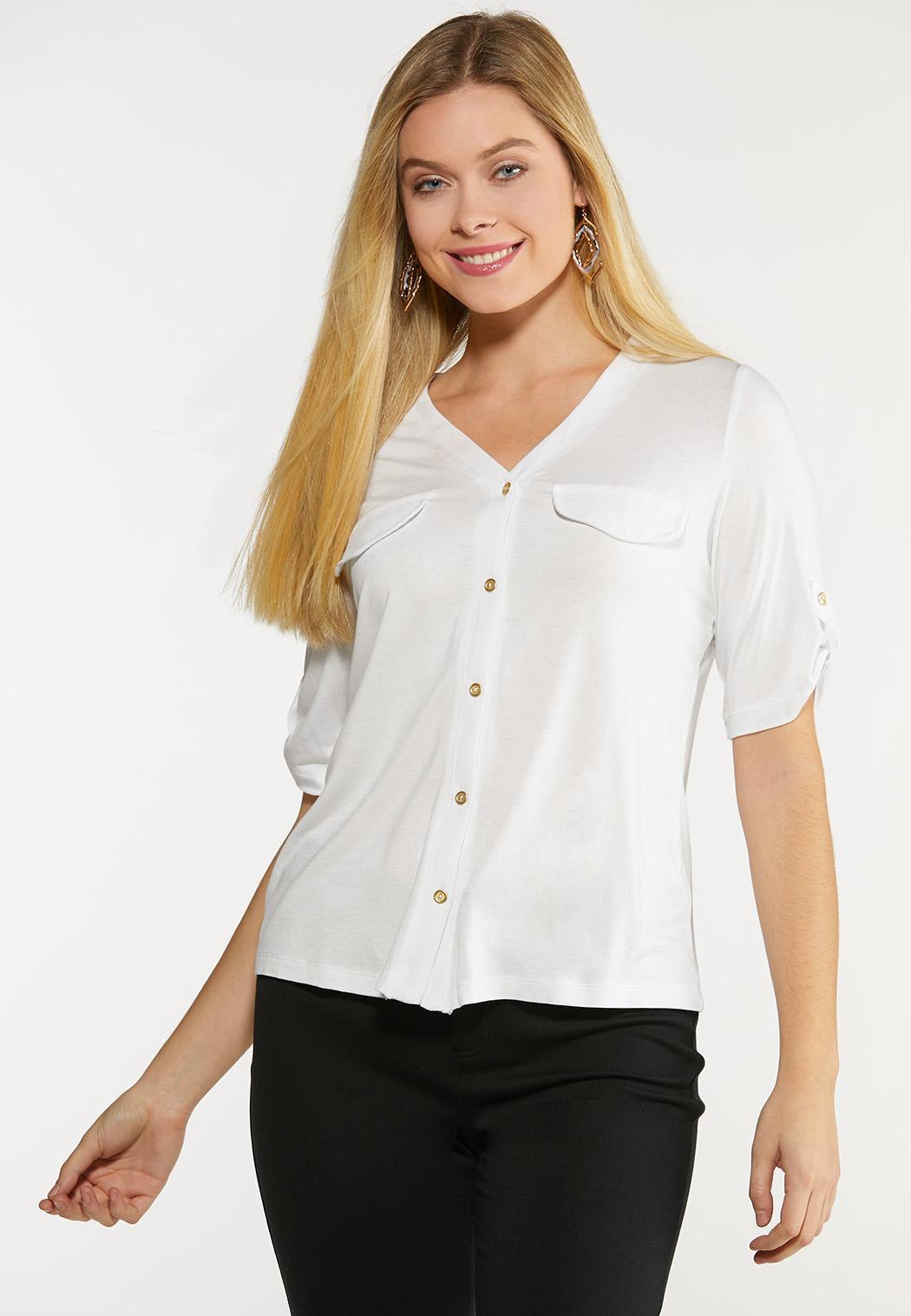 Plus Size Button Down Utility Shirt