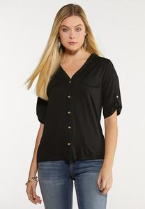 Plus Size Button Down Utility Shirt