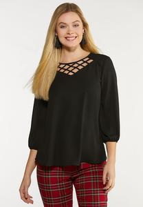Lattice V- Neck Top