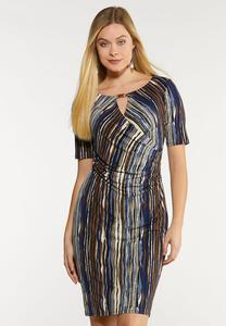 Wavy Stripe Sheath Dress