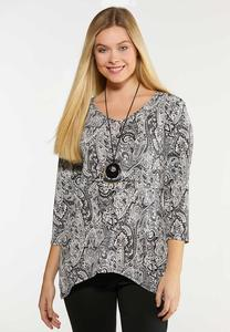 Plus Size Grommet Paisley Top
