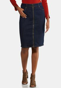 Plus Size Zip Front Denim Skirt