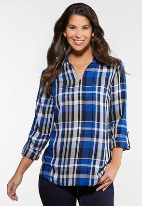 Plus Size Royal Plaid Shirt