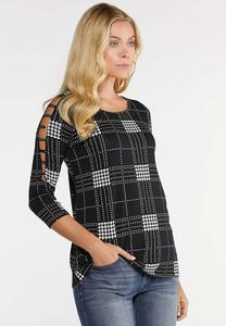 Plus Size Houndstooth Lattice Sleeve Top