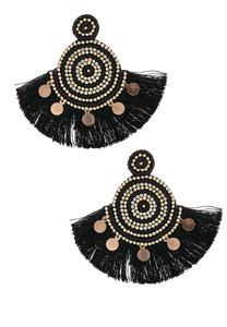 Statement Beaded Tassel Earrings