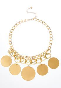 Brushed Gold Circle Necklace