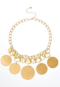 Brushed Gold Circle Necklace