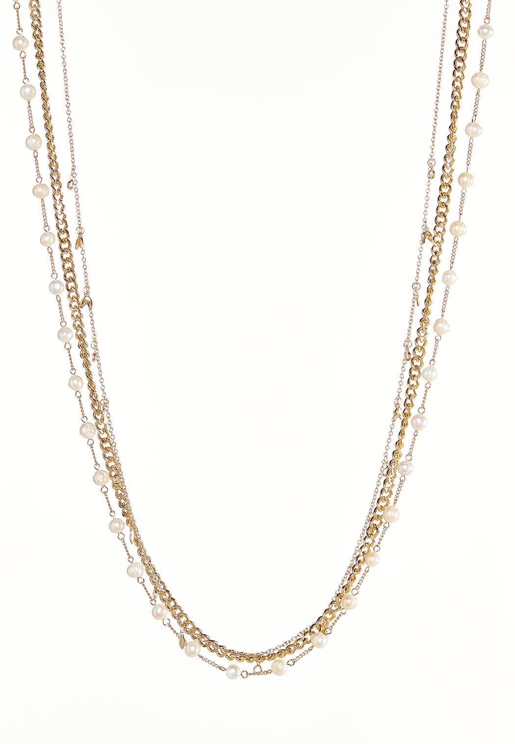 Layered Pearls And Links Necklace