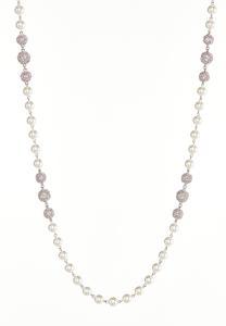 Rhinestone Pearl Ball Necklace
