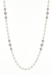 Rhinestone Pearl Ball Necklace