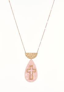 Lucite Cross Pendant Necklace