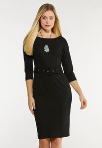 Plus Size Black Belted Shift Dress
