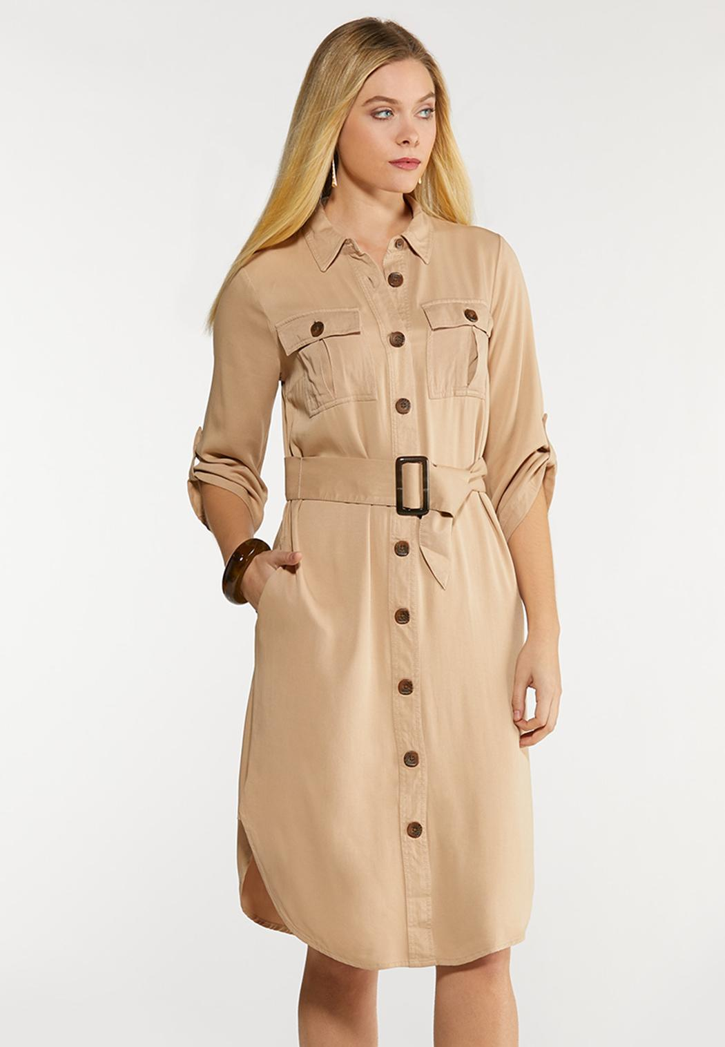 Plus Size Belted Utility Shirt Dress
