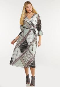 Plus Size Dreamy Patchwork Midi Dress