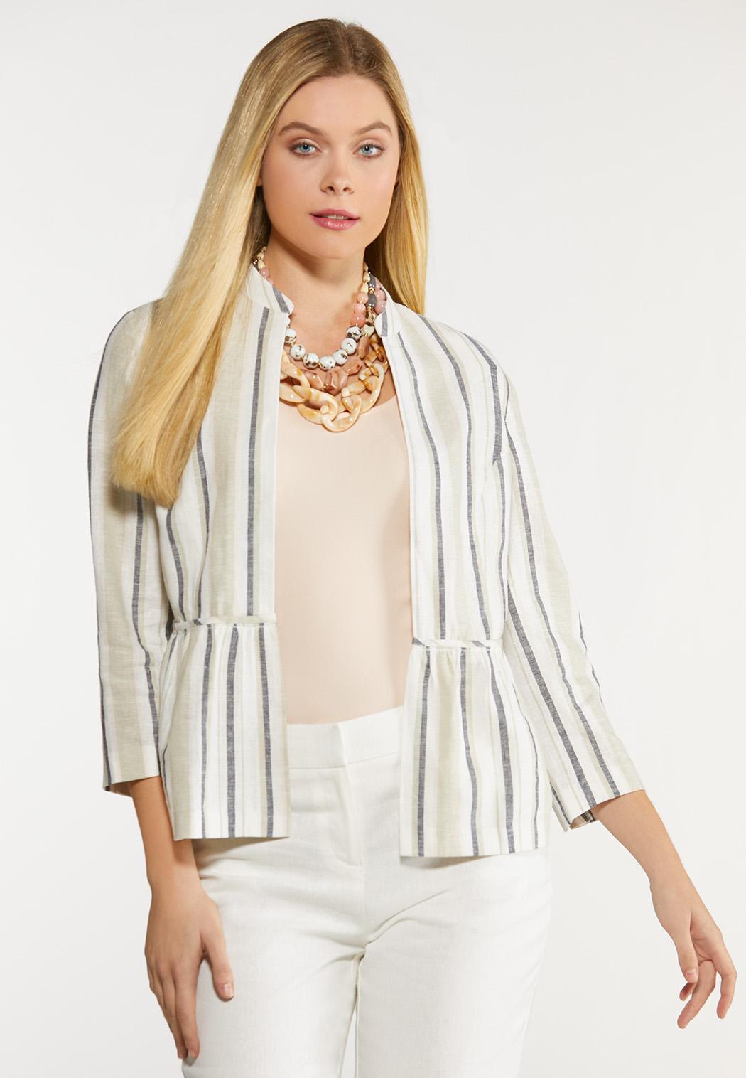 Plus Size Stripe Linen Jacket