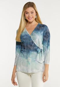 Plus Size Pleated Wrap Top