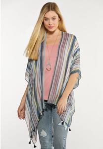 Striped Tasseled Kimono