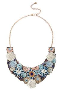Sequin Flower Bib Necklace