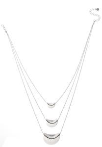 Layered Silver Shield Necklace