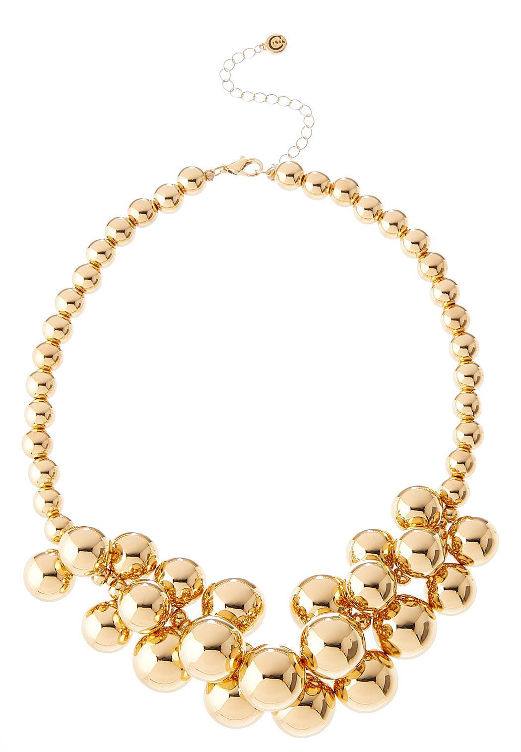 Cluster Gold Bead Necklace