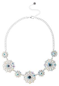 Flower Rhinestone Bib Necklace