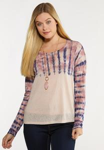 Plus Size Tie Dye Lace Back Top